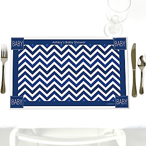 Chevron Navy - Personalized Baby Shower Placemats