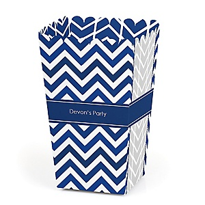 Chevron Navy - Personalized Party Popcorn Favor Treat Boxes