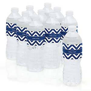 Chevron Navy - Personalized Party Water Bottle Sticker Labels - Set of 10