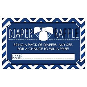 Chevron Navy - Diaper Raffle Baby Shower Game - 18 ct