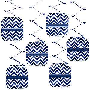 Chevron Navy - Party Hanging Decorations - 6 ct
