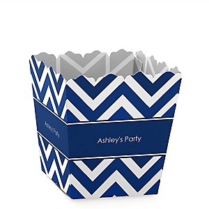 Navy Chevron - Personalized Baby Shower Candy Boxes