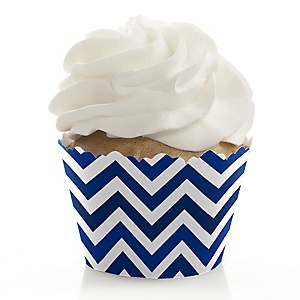 Chevron Navy - Party Cupcake Wrappers & Decorations