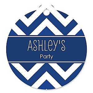 Chevron Navy - Round Personalized Party Tags - 20 ct