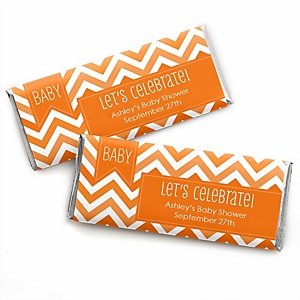 Chevron Orange - Personalized Baby Shower Candy Bar Wrapper Favors