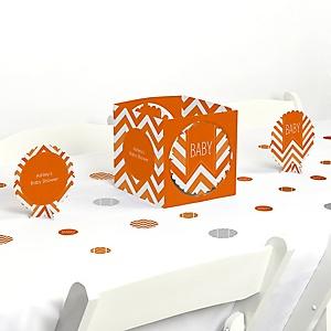 Chevron Orange - Baby Shower Centerpiece & Table Decoration Kit