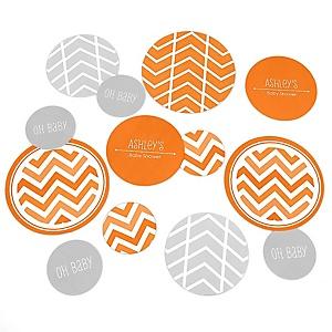 Chevron Orange - Personalized Baby Shower Table Confetti - 27 ct