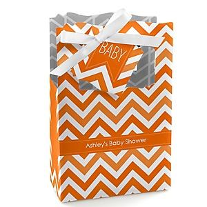 Chevron Orange - Personalized Baby Shower Favor Boxes