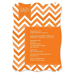 Chevron Orange - Personalized Baby Shower Invitations