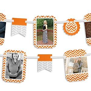 Chevron Orange - Baby Shower Photo Garland Banners