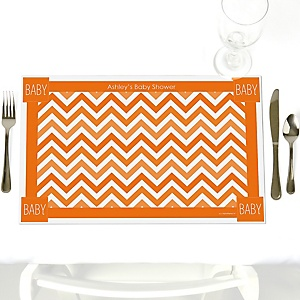 Chevron Orange - Personalized Baby Shower Placemats