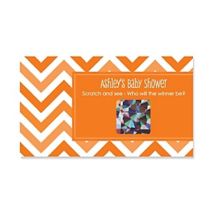 Chevron Orange - Personalized Baby Shower Game Scratch Off Cards - 22 ct