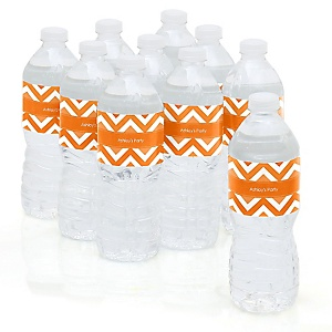Chevron Orange - Personalized Party Water Bottle Sticker Labels - Set of 10