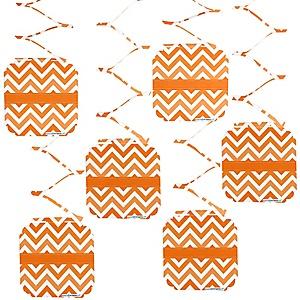 Chevron Orange - Party Hanging Decorations - 6 ct