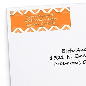 Orange Chevron - Personalized Baby Shower Return Address Labels - 30 Count