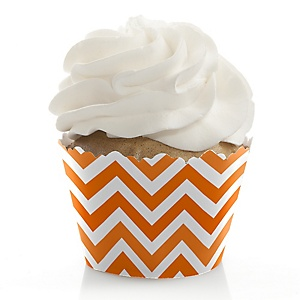 Chevron Orange - Party Cupcake Wrappers & Decorations
