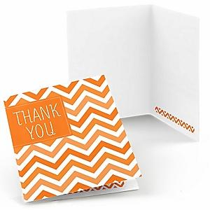 Chevron Orange - Party Thank You Cards - 8 ct