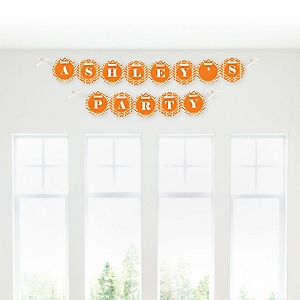 Chevron Orange - Personalized Party Garland Letter Banners