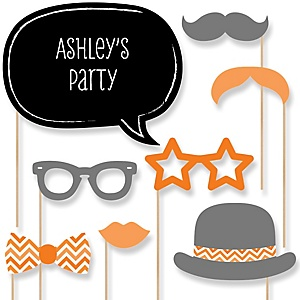 Orange Chevron - Baby Shower Photo Booth Props Kit - 20 Props