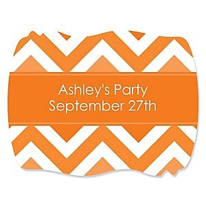 Chevron Orange - Personalized Party Squiggle Stickers - 16 ct