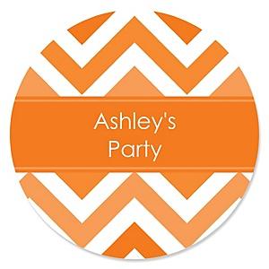 Chevron Orange - Personalized Party Sticker Labels - 24 ct