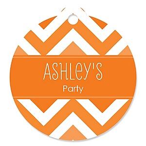 Chevron Orange - Round Personalized Party Tags - 20 ct