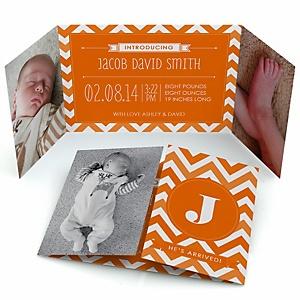 Chevron Orange - Photo Birth Announcements