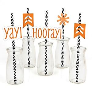 Chevron Orange - Paper Straw Decor - Baby Shower or Birthday Party Striped Decorative Straws - Set of 24