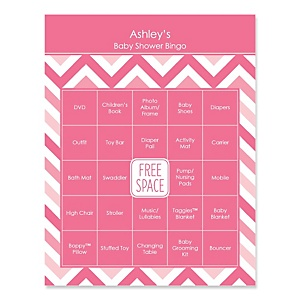 Pink Chevron - Bingo Personalized Baby Shower Games - 16 Count