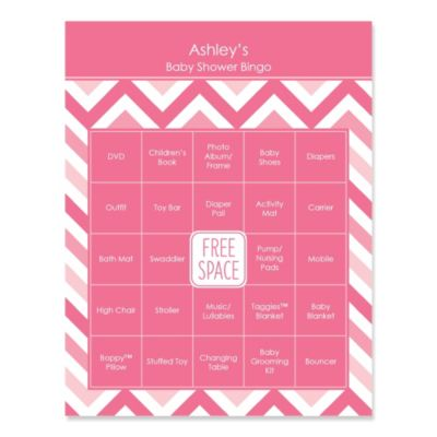Pink Chevron   Bingo Personalized Baby Shower Games   16 Count