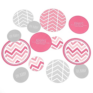 Chevron Pink - Personalized Baby Shower Table Confetti - 27 ct