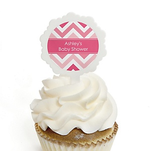 Chevron Pink - 12 Cupcake Picks & 24 Personalized Stickers - Baby Shower Cupcake Toppers