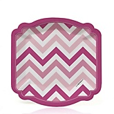 Chevron Pink - Baby Shower Dessert Plates - 8 ct