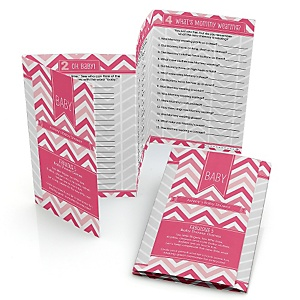 Chevron Pink - Personalized Baby Shower Fabulous 5 Games