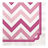 Chevron Pink - Baby Shower Luncheon Napkins - 16 ct