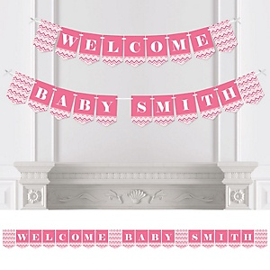 Chevron Pink - Personalized Baby Shower Bunting Banner & Decorations