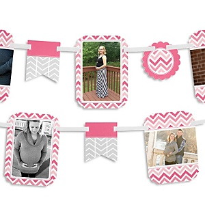 Chevron Pink - Baby Shower Photo Garland Banners