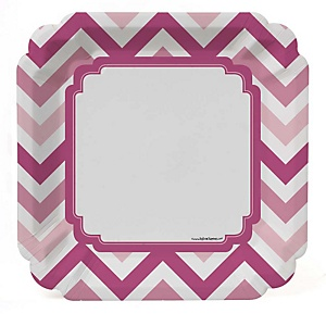 Chevron Pink - Baby Shower Dinner Plates - 8 ct