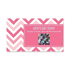 Chevron Pink - Personalized Baby Shower Game Scratch Off Cards - 22 ct