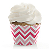 Chevron Pink - Birthday Party Cupcake Wrappers & Decorations
