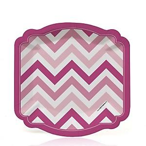 Chevron Pink - Party Dessert Plates - 8 ct