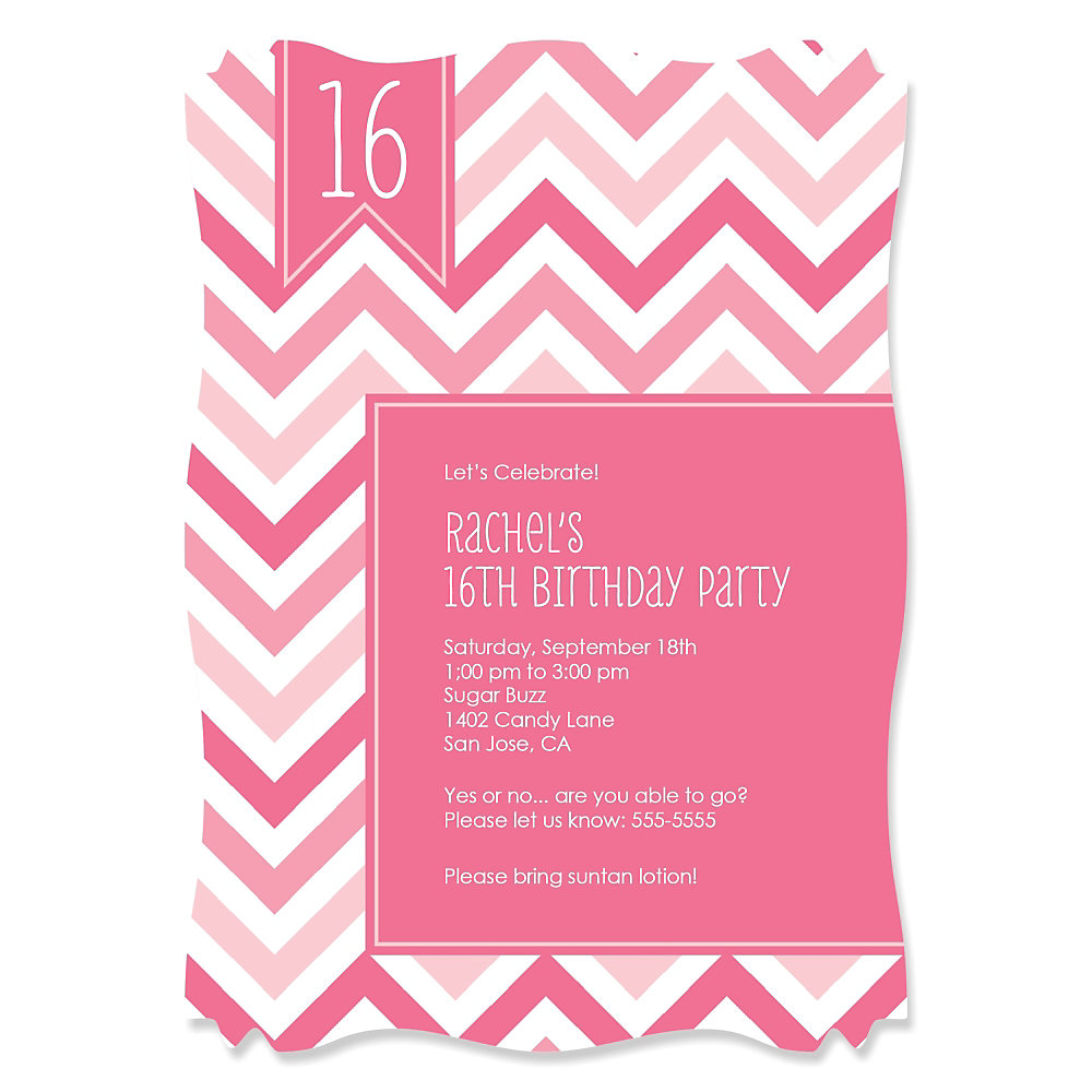 Chevron pink personalized birthday party invitations loading filmwisefo