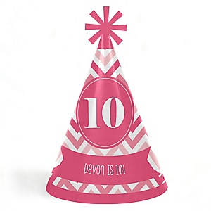 Chevron Pink - Personalized Cone Happy Birthday Party Hats for Kids and Adults - Set of 8 (Standard Size)