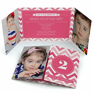Chevron Pink - Personalized Birthday Party Photo Invitations - Set of 12