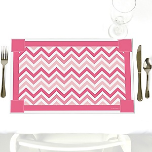 Chevron Pink - Party Table Decorations - Party Placemats - Set of 12
