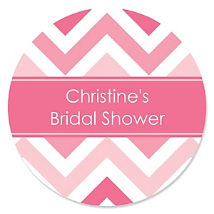 Chevron Pink - Personalized Bridal Shower Sticker Labels - 24 ct