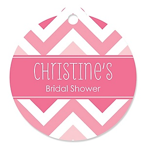 Chevron Pink - Round Personalized Bridal Shower Tags - 20 ct