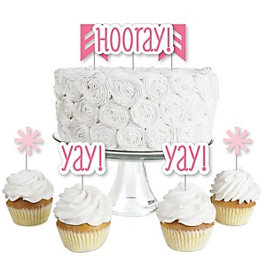 Chevron Pink - Dessert Cupcake Toppers - Baby Shower or Birthday Party Clear Treat Picks - Set of 24