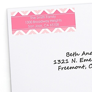 Chevron Pink - Personalized Party Return Address Labels - 30 ct