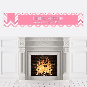 Chevron Pink - Personalized Party Banners